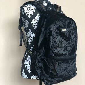 VS PINK BLACK VELVET BACKPACK